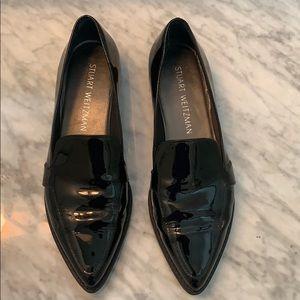 Stuart Weitzman Pipelopez black patent loafers
